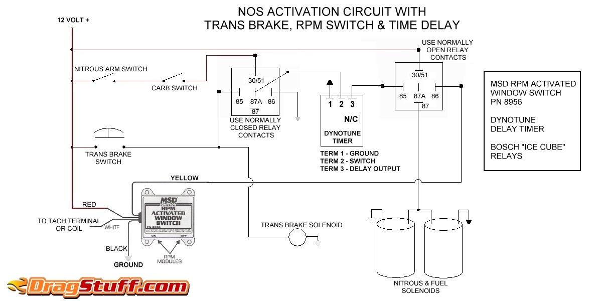 nitrous system wiring diagrams dragstuffsingle stage nos system with transbrake interrupt relay, msd window switch, and dynotune delay timer
