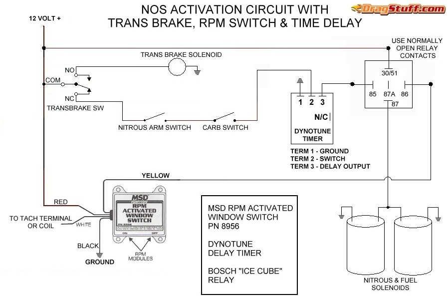 nitrous system wiring diagrams dragstuff Timing Relay Wiring Diagram single stage nos system with transbrake interrupt (no relay), msd window switch, and dynotune delay timer timing relay wiring diagram