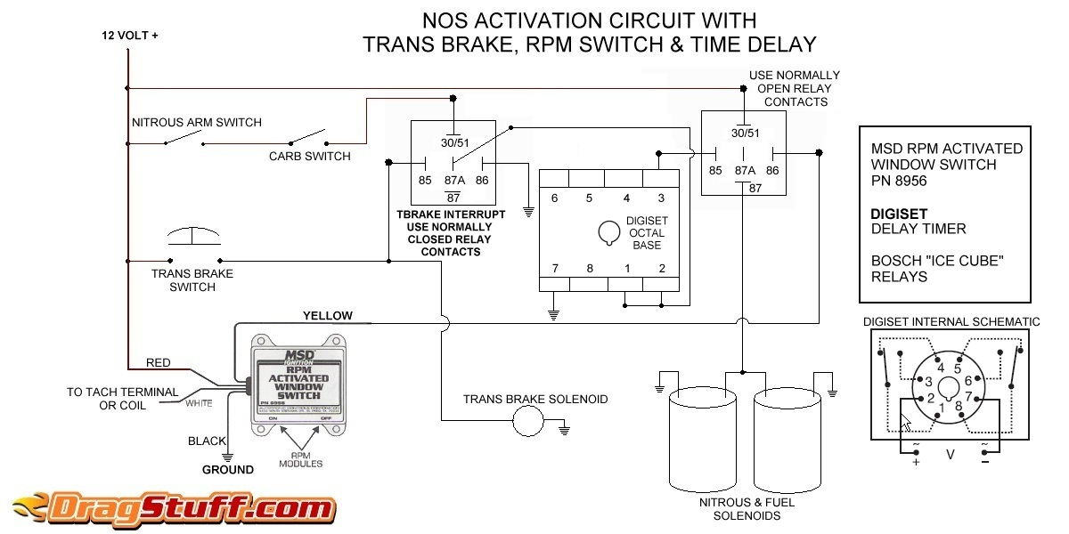 nitrous system wiring diagrams dragstuffsingle stage nos system with transbrake interrupt (no relay), msd window switch, and digiset delay timer
