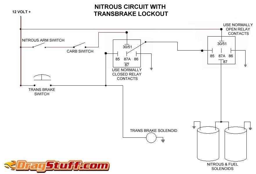 nitrous system wiring diagrams dragstuffsingle stage nos system with transbrake interrupt relay